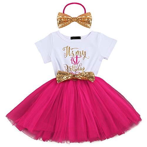 Baby Girls Newborn Christmas Birthday Party Cake Smash Princess Dress up Bowknot Sequin Tulle Tutu Dance Ball Gowns Rose One Year+ Gold Headband