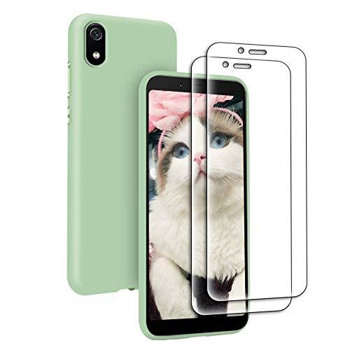 Funda Líquida para Xiaomi Redmi 7A + 2* Cristal Templado Protector de Pantalla, Carcasa Líquido Ultra Delgado Suave TPU Silicona Anti-Rasguño y Resistente Protectora Caso - Verde