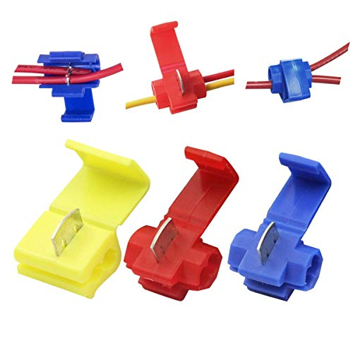 Leadrise 125 Solderless Quick Splice Snap Wire Connector, 50 pcs red 22 Through 18 Gauge,50 pcs Blue 16 Through 14 Gauge,25 pcs Yellow 12 Through 10 Gauge (125)