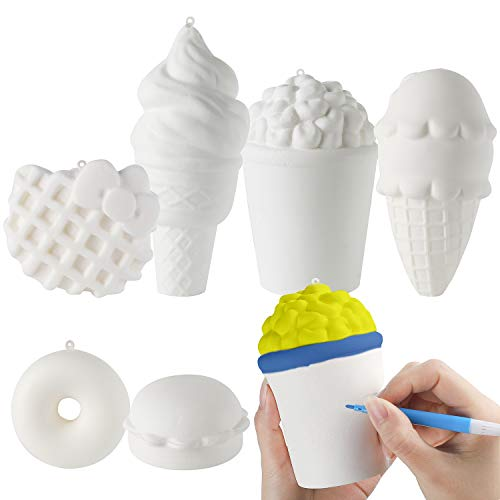 MALLMALL6 6Pcs DIY Slow Rising Jumbo Food Soft Squeeze Set-Hamburger Popcorn Donuts Kitty Waffle Ice Cream ×2 Creamy Scent Kawaii White Novelty Toys Great Gift as Keychain Phone Straps Bonus