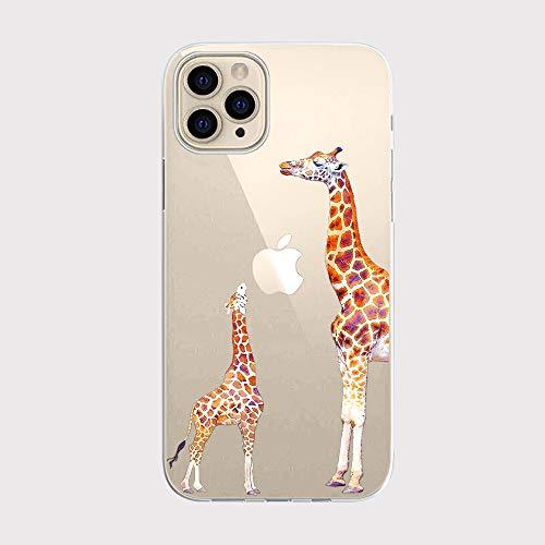 FancyHülle Kompatibel mit iPhone 12 Pro (6,1 Zoll) Tiermuster Weiche Silikon Schutzhülle Transparent iPhone 12 Pro Hülle (Giraffen)