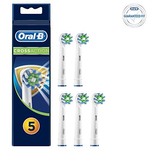 Oral-B CrossAction - Testine di ricambio con protezione antibatterica, confezione da 5