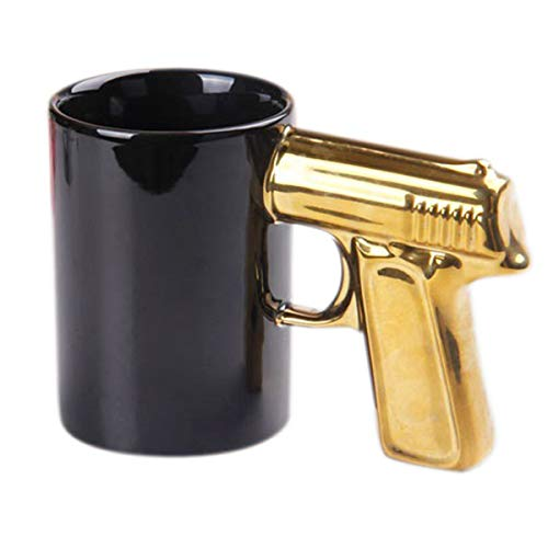 BonZeal 3D Ceramic Gun Mug Coffee Tea Mug - 1 Piece, Golden, 320 ml