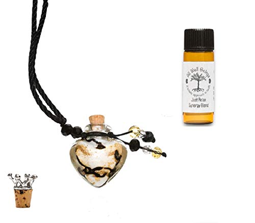 All Well Beings Aromatherapy Essential Oil Necklace Diffuser Set, Glass Heart Shaped Bottle with extendable Cord, Essential Oil Bottle and Crown Cork