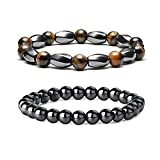 2Pcs Anti-Swelling Black Obsidian Anklets for Women,Magnetic Therapy Ankle Bracelet,Hematite Magnetic Anklets for Weight Loss,Stress Relief Yoga Beads Anklets for Men (A:Tiger Eye&Black Obsidian)
