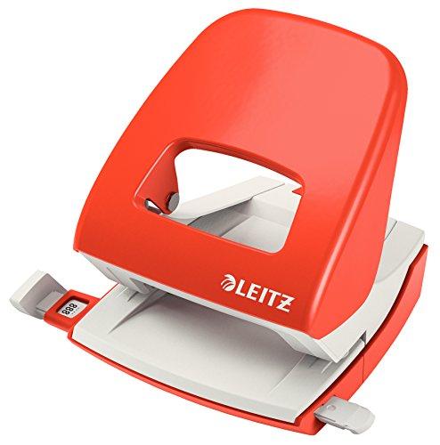 Leitz NeXXt Bürolocher, 30 Blatt, Anschlagschiene mit Formatangaben, Metall, Hellrot, 50080020
