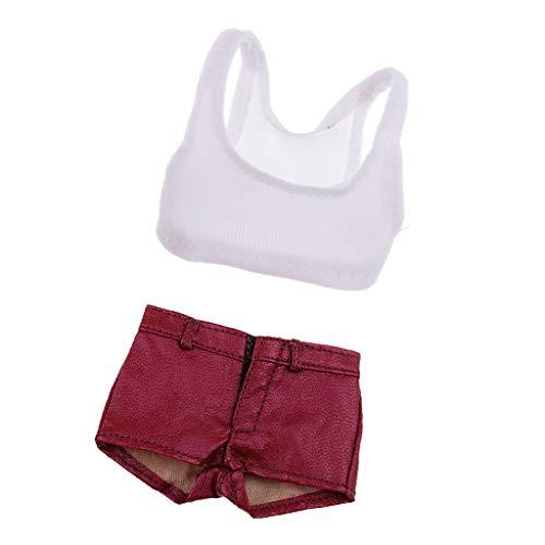 Hellery 1/6 Weste T-Shirt Tops Ärmellose Kleidung Shorts Lederhose für 12 Zoll Weibliche Figur Körper