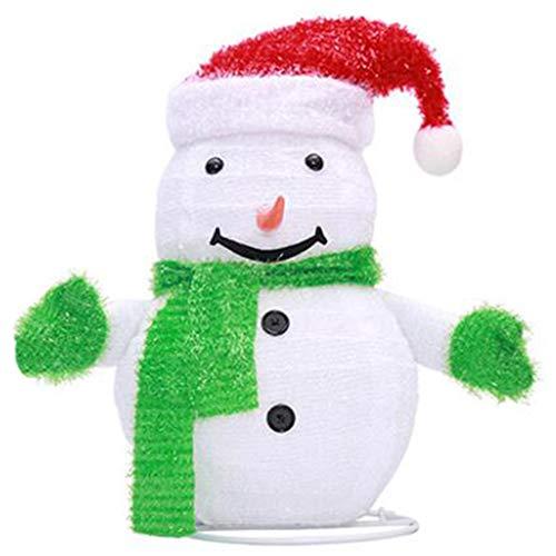 SOLUSTRE Schneemann mit LED Licht Beleuchteter Schneemann Dekofigur mit Hut Snowman Lampe für Schlafzimmer Kinderzimmer Innen Außen Garten Weihnachtsbeleuchtung Fensterdeko Xmas Party Deko