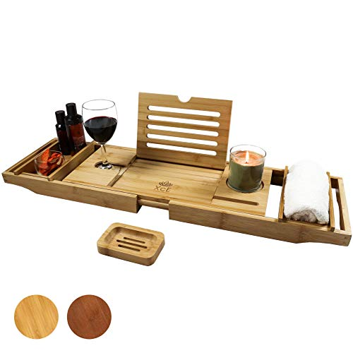 XcE Bathtub Caddy Tray (Natural)- Bamboo Wood Bath Tray and Bath Caddy for a Home Spa Experience