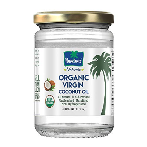 Parachute Naturalz 100% Organic Virgin Coconut Oil, for Cooking, Hair and Skin, Cold-Pressed, USDA Certified, 16 fl. oz Glass Jar (473 ml)