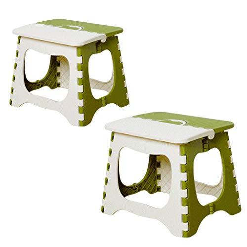 Chaises pliantes Tabouret, épais, plié, en Plastique, Un Ensemble de Deux, de la même Taille Que Le même Groupe, Charge maximale 100 kg, Hauteur 19,8,21,7,24,6 cm (Color : Green, Size : L)