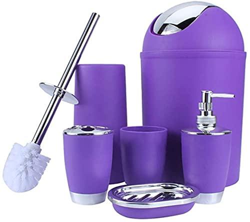 JZDH 6 PCS Conjunto de Accesorios de baño de plástico Accesorios de baño de Lujo Conjunto de baño Loción Suministros de baño Kit de Accesorios de baño (Color : Purple)