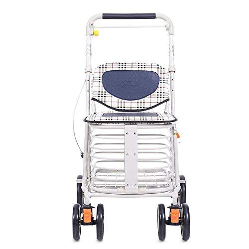 RenShiMinShop Oude leeftijd stap winkelwagen vouwen winkelwagen kan kleine kar oude man trolley duwen met stoel vierwielige boodschappenwagen