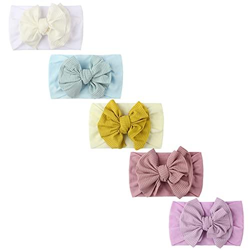 N/AB 5 unidades de turbantes para bebé, 100 % algodón muy suave, elásticos, turbantes para bebés, niñas Nº 04 Talla única