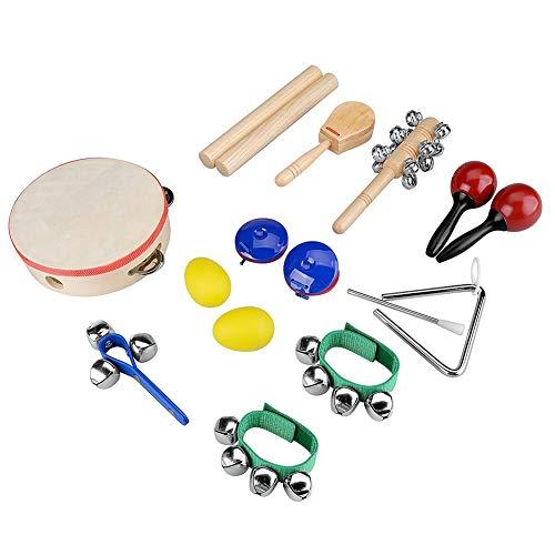 Liadance Instrumentos Musicales de percusión Instrumentos Set niño Juguetes de Madera de percusión Conjunto de Juguete para el bebé, niños, niño Preescolar 10PCS