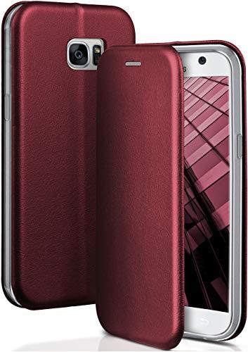ONEFLOW Handyhülle kompatibel mit Samsung Galaxy S7 - Hülle klappbar, Handytasche mit Kartenfach, Flip Case Call Funktion, Klapphülle in Leder Optik, Weinrot