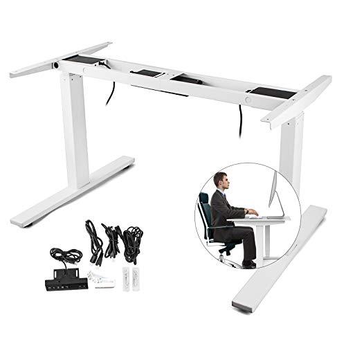Happybuy Dual Motor Electric Standing Desk Frame Height Adjustable Sit Stand Up Desk Leg 264LB Capacity DIY Workstation Base 47.2' - 70.9' Tabletop Heavy Duty Sit Stand Frame (Electric Frame White)