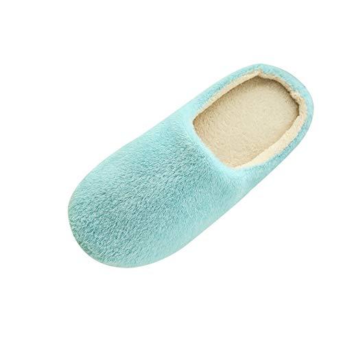 Xmiral Hausschuhe Damen Indoor Home Plüsch Weiche Süße Baumwolle Hausschuhe Schuhe rutschfeste Boden Home Hausschuhe Für Schlafzimmer(42,Blau)