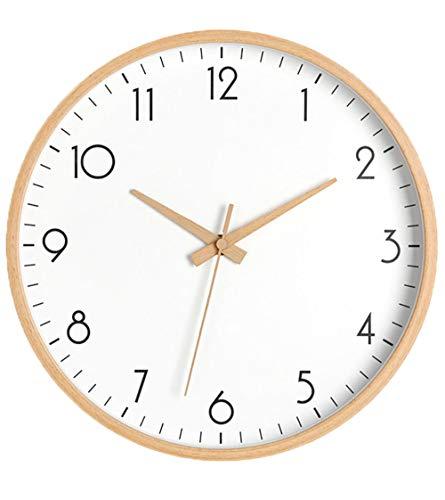SHENHAI Reloj de Pared, Reloj de Pared para Sala de Estar, Reloj Simple, decoración Personalizada, Reloj de Madera Maciza, sección U_10 Pulgadas