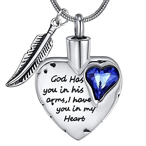 KBFDWEC Collar de urna de corazón de Acero Inoxidable con joyería de cremación de Cenizas para Recuerdo de Cenizas