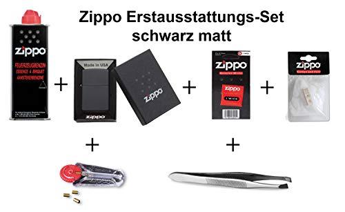 Zippo Erstausstattungs-Set: Zippo Feuerzeug schwarz matt + Benzin, Feuersteine, Docht, Watte, und Pinzette