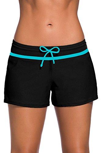 Tmaza Shorts de Baño Mujer Bañador Short Deportes Acuáticos Shorts de Natación Secado Rápido Bañador de Pantalon Cortos con cordón Ajustables, Negro Blanco 2XL