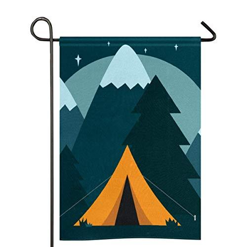 Campamento tienda de campaña naturaleza aventura jardín bandera de poliéster de dos caras para decoración del hogar 30 x 45 cm