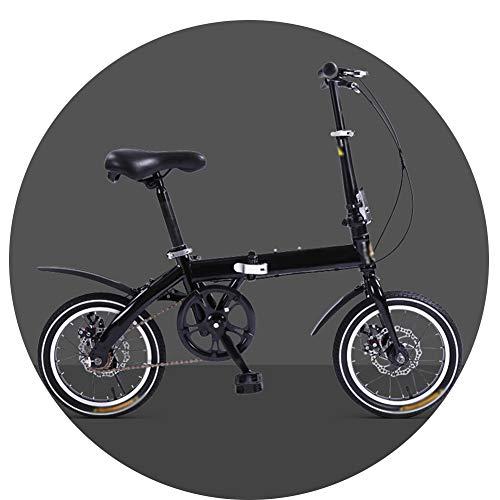 Bicicletta Pieghevole Ragazzo 14 Pollici Adulto Freno A Disco Pieghevole Viaggi/Lavoro Portatile Bici per Bambini Acciaio al Carbonio Installazione Gratuita(Color:Nero)