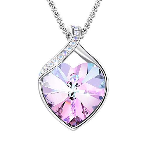 Angelady Halsketten für Frauen mit Amethyst Anhanger Kristallen von Swarovski   Kette Silber Zarte Herz Anhanger mit Zirkonia Diamanten Geschenk für Frauen