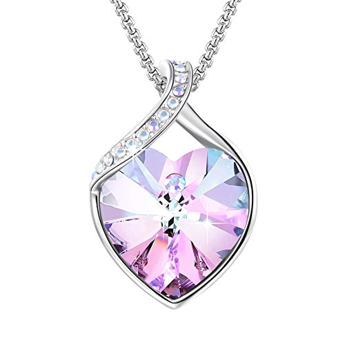 Angelady Pink Heart Pendant Necklaces for Women Crystal from Austria in Silver|Rose Flower Necklace with Cubic Zircon Diamonds Christmas Necklace Gifts for Mum Wife Girlfriend