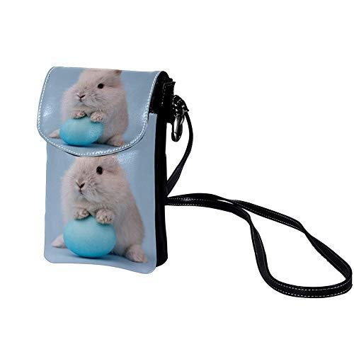Bolso Bandolera pequeño para Mujer Globo De Amor Conejo Blanco Monedero de Piel para Mujer Funda para teléfono Celular Cartera Mini Bolso de Mano 19x12x2cm