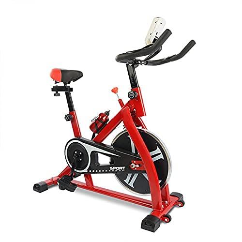 SAFGH Bicicleta estática, Bicicletas estáticas para Interiores Bicicleta estática para Ejercicios, Bicicleta Vertical, transmisión por Correa con Resistencia Ajustable, Monitor LCD y Soporte para