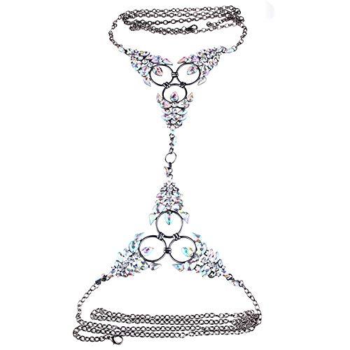 SHANGZHIQIN Cadena de Cuerpo Americana, Temperamento de aleación de Diamantes de Color, Collar + aretes Set AB Color Suit