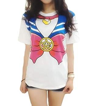 GK-O Japanese Anime Sailor Moon Style T-shirt Harajuku Kawaii Cosplay Costume  Small Blue