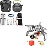 Odoland 10pcs Camping Cookware Mess Kit and 3500W Windrpoof Camp Stove Camping Gas Stove Kit