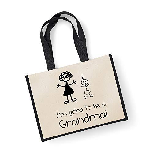 Grand sac de jute I'm Going To Be A mamie Sac Noir fête des mères Nouvelle Maman anniversaire Cadeau de Noël