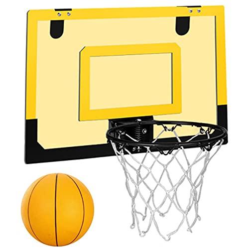NXLWXN Mini Canasta Baloncesto Montado Pared para Interiores Borde Baloncesto, Tablero Baloncesto Portátil para Exteriores Sin Perforación,Amarillo
