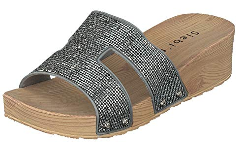 Siebi's Como Luxus Badeschuhe Strandschuhe Pantoletten Damen: Größe: 37 EU | Farbe: Silber