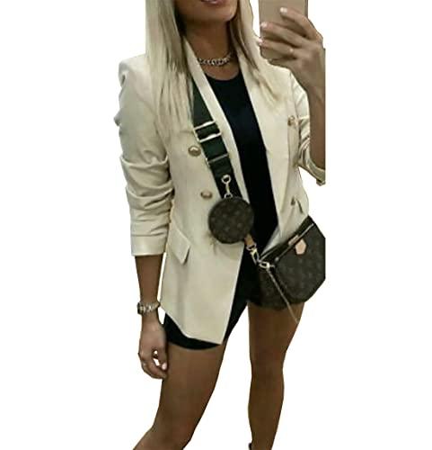 Chaqueta de abrigo de manga larga para mujer con botones dorados para mujer, crema, 36