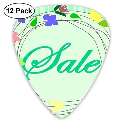 Gitaar Pick Verkoop Frame Bloemen Vector Illustratie 12 Stuk Gitaar Paddle Set Gemaakt Van Milieu Bescherming ABS Materiaal, Geschikt voor Gitaren, Quads, Etc