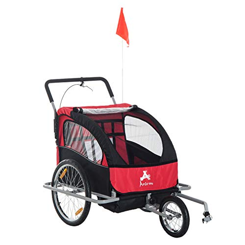 Aosom Elite 2-in-1 Three-Wheel Bicycle Cargo Trailer & Jogger for Two Children with 2 Safety Harnesses & Storage, Red