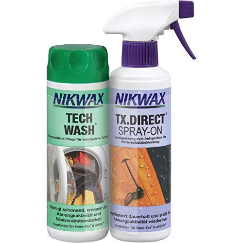 Nikwax Tech Wash+TX-Direct Spray, 2x300ml Lessive pour vêtements Mixte, Transparent, 300 ML (2er Pack)