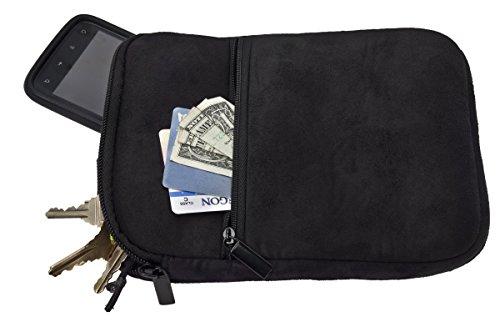 Premium Microfiber Suede Caddy Pouch for Valuables, Black