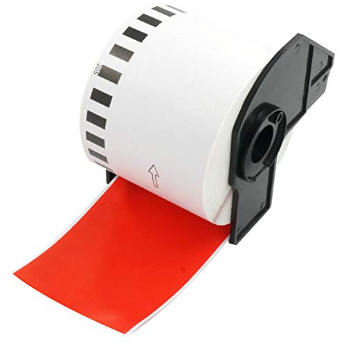 BETCKEY - Compatible with Brother DK-22205 62mm x 30.48m Continuous Length Labels [1 Rolls, Red]