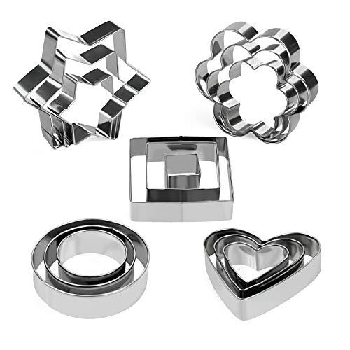 Orapink 15 Stück Ausstechformen Set Edelstahl Herz Stern Runde Blume Quadratische Form Keks Ausstecher zum Backen