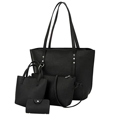 Gofodn 2019 Neue Frauen Retro Solid Kinderpaket 4-teiliges Set Schultertasche + Handtasche + Münzbörse + Karte Paket, Rot - Schwarz - Größe: Einheitsgröße