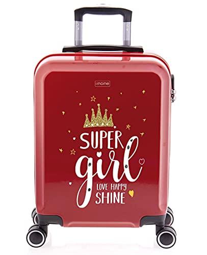 imome Cool Maleta de Cabina Juvenil Super Girl 55x40x20 cm | Equipaje de Mano, Trolley de Viaje Ryanair, Easyjet | Maleta de Viaje Roja Súper Chica Rígida Divertida