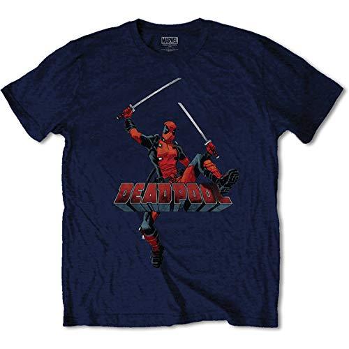 T-Shirt # L Blue Unisex # Deadpool Logo Jump