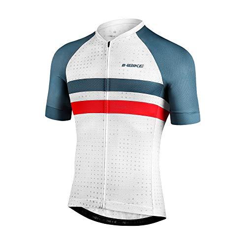 INBIKE Maillot Ciclismo Hombre Verano Camisetas Bicicleta Montaña Ropa MTB Transpirable con Bosillos Equipación de Ciclista Traje Bici Blanco M