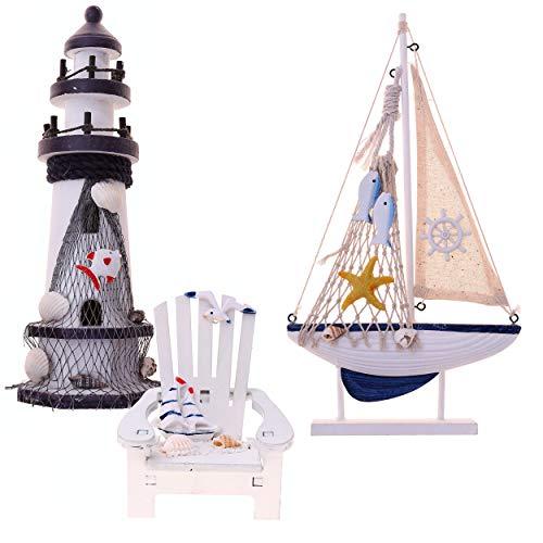 Flanacom Maritime Badezimmer Deko 3er Set - Leuchtturm, Segel-Schiff und Strand-Stuhl aus Holz - liebevoll gestaltete Badaccessoires mit Details (Design 4)
